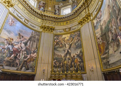 ROME, ITALY - MARCH 17,2016 : Beautiful  Basilica Sant' Andrea della Valle.In Altar part located famous fresco The Crucifixion of st. Andrew the apostle masterpiece by Mattia Preti (1613-1699).Europe.
