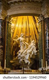 Rome, Italy – March 20, 2018: The Ecstasy of Saint Teresa by Bernini in the church of Saint Mary of Victory (Santa Maria della Vittoria)