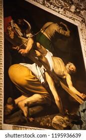 Rome, Italy – March 20, 2018: Assumption of the Virgin Mary by Caravaggio in Cerasi Chapel in Basilica of Santa Maria del Popolo