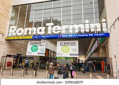 Rome, Italy, march 2017: Train station Termini entrance. Roma Termini is the main railway station of Rome, the second largest railway station in Europe