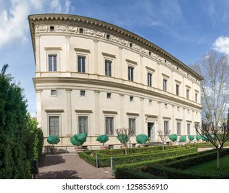 Rome, Italy - March, 2018: Exterior of Villa Farnesina. Via della Lungara, Trastevere.