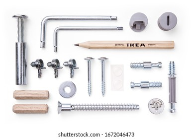 Rome, Italy, march 2020. Ikea, set of tools and mounting elements for furniture on white background.