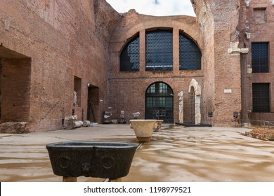 Rome, Italy – March 21, 2018: Baths of Diocletian were the largest of the imperial public baths in ancient Rome, now it is a museum