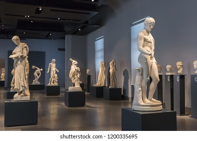 Rome, Italy – March 21, 2018: Inside Palazzo Massimo alle Terme, now it is the National Roman Museum houses the ancient art