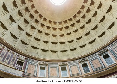 Rome, Italy – March 22, 2018:  Inside the Pantheon, a former Roman temple, now a church