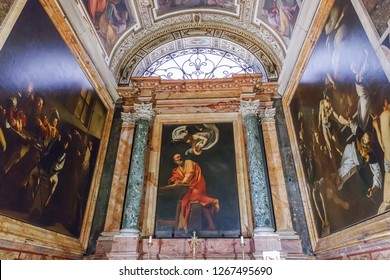 Rome, Italy – March 22, 2018: Church of St. Louis of the French,  Contarelli Chapel contains a cycle of paintings by Caravaggio