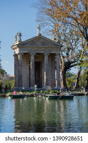 Rome, Italy - march 22, 2019: Temple of Asclepius (Tempio di Esculapio) located in the gardens of the Villa Borghese, in Rome