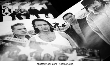 Rome, Italy - March 22, 2019: CDs and artwork of cd of the Irish rock band U2 from Dublin formed in 1976. Characterized by the expressive voice of Bono and the guitar based on the effects of Edge