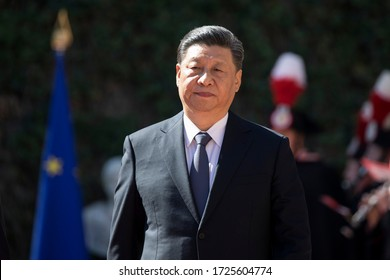Rome, Italy - March 23, 2019: Xi Jinping, China's president and Giuseppe Conte, Italy's prime minister, arrive for the signing of a memorandum of understanding at Villa Madama in Rome.