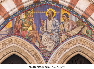 ROME, ITALY - MARCH 24, 2015: The mosaic Teaching of St. Paul in carcer by George Breck (1909) on the main portal of church Chiesa di San Paolo dentro le Mura.
