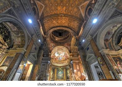 Rome, Italy - March 24, 2018: Interior of Sant'Andrea delle Fratte basilica. Sant'Andrea delle Fratte is a 17th-century basilica church dedicated to St. Andrew.