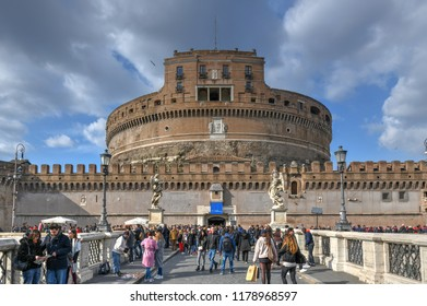 Rome, Italy - March 24, 2018: Castel Sant'Angelo or Castle of Holy Angel, Rome, Italy. Castel Sant'Angelo is one of the main travel destinations in Europe.