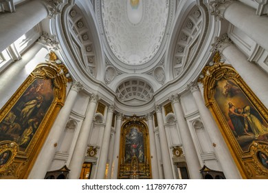 Rome, Italy - March 24, 2018: Ceiling of Church of San Carlo alle Quattro Fontane by Francesco Borromini in Rome, Italy.