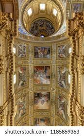 Rome, Italy - March, 24, 2018: The nave of baroque church Basilica di Sant Andrea della Valle in Rome, Italy.