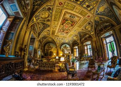 "Rome, Italy - March 24 2018 : The interior of ""Palazzo Colonna"" in Rome."