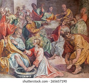 ROME, ITALY - MARCH 25, 2015: The feet washing scene of Last supper. Fresco in church Santo Spirito in Sassia by unknown artist of 16. cent.