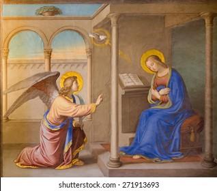 ROME, ITALY - MARCH 25, 2015: The Annunciation fresco by Joseph Erns Tunner (1830) in church Chiesa della Trinita dei Monti.