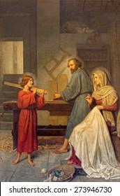 ROME, ITALY - MARCH 25, 2015: The painting of Holy Family by Angelo Zoffoli (1860-1910) in baroque church Basilica dei Santi Ambrogio e Carlo al Corso.