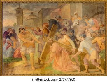 ROME, ITALY - MARCH 25, 2015: The Fall of Jesus under cross fresco in church Chiesa San Marcello al Corso by Paolo Baldini (1600)