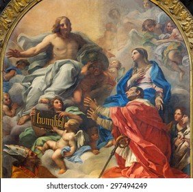 ROME, ITALY - MARCH 25, 2015: The painting of SS Ambrose and Charles Presented to Christ by Our Lady (1685 -1690) by Carlo Maratta in baroque church Basilica dei Santi Ambrogio e Carlo al Corso.