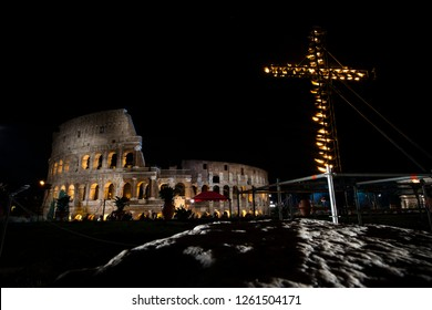 ROME, ITALY - MARCH 25, 2016: Pope Francis the Via Crucis (Way of the Cross) torchlight procession on Good Friday in front of the Colosseum in Rome, Italy on March 25, 2016.