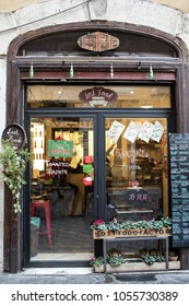 ROME, ITALY - MARCH 25, 2018: The Lost Food Factory sandwich place in the heart of Rome, where you can choose from different kinds of bread, soups, pizzas, pastas and sandwiches.
