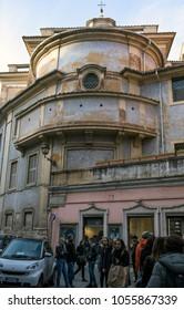 ROME, ITALY - MARCH 25, 2018: The backside of the Santa Maria della Concezione church in Via degli Uffici del Vicario, with people visiting Rome for the cultural days organized by Italian FAI.