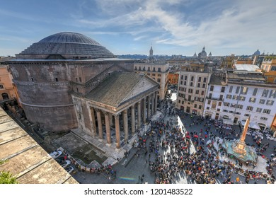 Rome, Italy - March 25, 2018: Aerial view of the ancient Pantheon church in Rome, Italy.