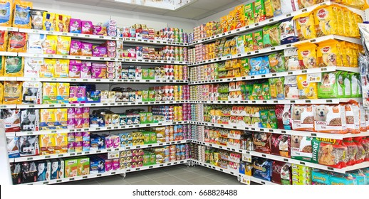 ROME, ITALY. March 26, 2014: Pet food store shelves  inside a new market (M.A. Supermarket) opening in Rome, Italy.