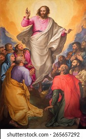 ROME, ITALY - MARCH 26, 2015: The Ascension of the Lord painting in church Chiesa Nuova by Gerolamo Muziano (1532 - 1592).