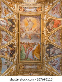 ROME, ITALY - MARCH 26, 2015: The fresco of Ascension of the Lord and Four Evangelists in the ceiling of church Chiesa di Santa Maria ai Monti by Ilario Casolani from 16. cent.