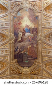 ROME, ITALY - MARCH 26, 2015: The ceiling freso with Madonna and Simon Stock by Pietro Paolo Baldini from 1637. cent. in church Chiesa di Santa Maria in Transpontina.