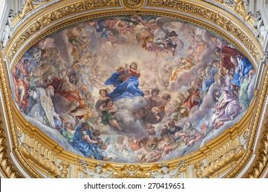 ROME, ITALY - MARCH 26, 2015: The of baroque fresco of Assumption of Virgin Mary in church Chiesa Nuova (Santa Maria in Vallicella) by Pietro da Cortona (1659 - 1660).