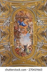 ROME, ITALY - MARCH 26, 2015: The baroque ceiling fresco  (Miracle of the Madonna della Vallicella) in church Chiesa Nuova (Santa Maria in Vallicella) by Pietro da Cortona (1664 - 1665).