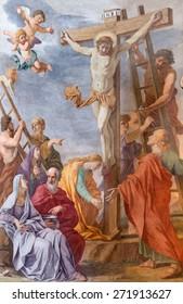 ROME, ITALY - MARCH 26, 2015: The fresco of Crucifixion  in church Chiesa di Santa Maria ai Monti by  Giovanni Battista della Marca from 16. cent.