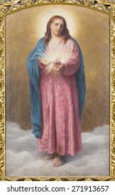 ROME, ITALY - MARCH 26, 2015: The heart of Jesus Christi paint  in church Chiesa di Santa Maria ai Monti by  T. Tarenghi (1910).