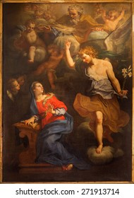 ROME, ITALY - MARCH 26, 2015: The Annunciation paint on the main altar of church Chiesa di Santa Maria Annunziata by unknown artist of 17. cent.