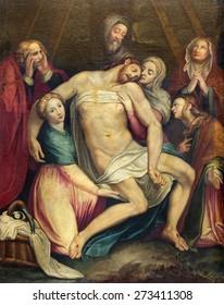 ROME, ITALY - MARCH 26, 2015: The painting of Deposition of the cross (Pieta) in church Chiesa di Santa Maria ai Monti by Antonio Viviano (1560 - 1620) as the copy of Lorenzino da Bologna.