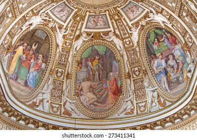 ROME, ITALY - MARCH 26, 2015: The main apse with the frescoes from life of Virgin Mary in church Chiesa di Santa Maria ai Monti by Giacinto Gimignani e Ilario Casolani from 17. cent.