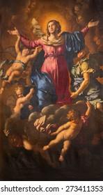 ROME, ITALY - MARCH 26, 2015:  The Assumption of Virgin Mary by Domenico Cerrini (1609 - 1681) in church Chiesa Nuova (Santa Maria in Vallicella).