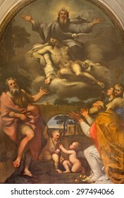 ROME, ITALY - MARCH 26, 2015: The paint of holy Trinity and the saints Bartholomew and Nicholas of Bari by Giovanni Angelo Canini (1644) in church Chiesa di San Martino ai Monti.