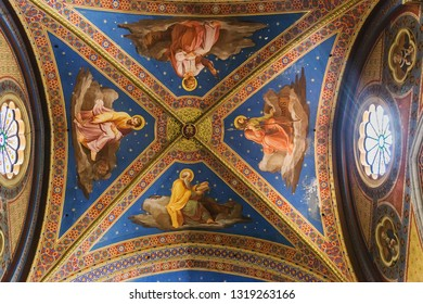 Rome, Italy – March 26, 2018: Ceiling of Basilica of Santa Maria sopra Minerva