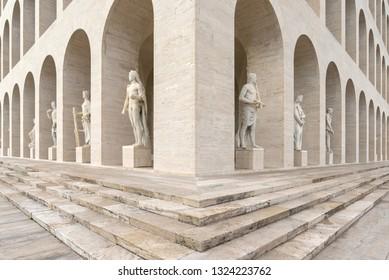 Rome, Italy - March 26, 2018: Closeup view of The Palazzo della Civiltà Italiana, also known as Square Colosseum. It's an icon of the Fascist architecture located in the district of EUR.