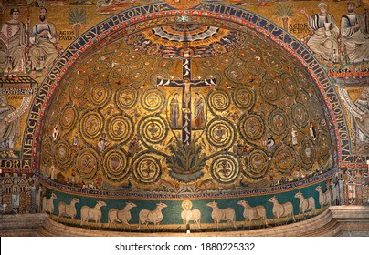 ROME, ITALY - MARCH 27, 2015: The medieval mosaic of Jesus on the cross from apse of San Clemente church (1130).