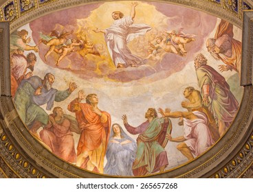 ROME, ITALY - MARCH 27, 2015: The Ascension of the Lord fresco in church Santa Maria dell Anima by Francesco Salviati from 16. cent.