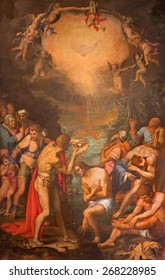 ROME, ITALY - MARCH 27, 2015: The painting of Baptism of Christ by Daniele da Volterra in church San Pietro in Montorio from 16. cent.