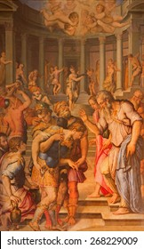 ROME, ITALY - MARCH 27, 2015: The painting of st. Paul before the Ananias by Giorgio Vasari in church San Pietro in Montorio from 16. cent.