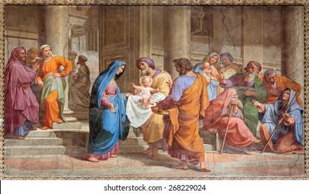 ROME, ITALY - MARCH 27, 2015: The Presentation in the Temple fresco in Basilica di Sant Agostino (Augustine) by  Pietro Gagliardi form 19. cent.