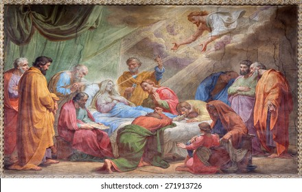 ROME, ITALY - MARCH 27, 2015: The Dormition of Virgin Mary fresco in Basilica di Sant Agostino (Augustine) by Pietro Gagliardi form 19. cent.