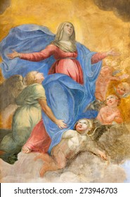 ROME, ITALY - MARCH 27, 2015: The fresco of Immaculate Conception by Giuseppe Vasconio (early 17. cent.) in Basilica di Sant Agostino (Augustine).